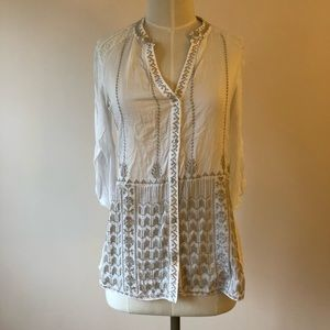 Tops - Anthropologie White and Tan Embroidered Blouse